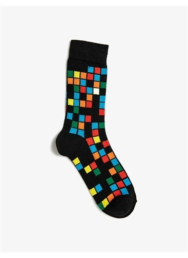 Koton Erkek Çok Renkli Kareli Pamuklu Çorap Seti Siyah